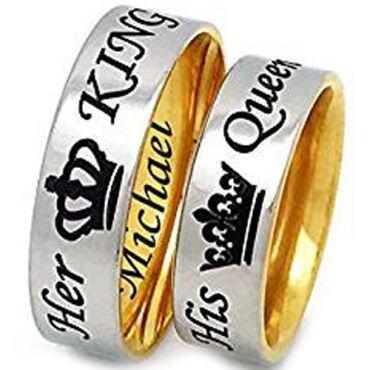 *COI Titanium Gold Tone Silver King Queen Crown Dome Ring-4089