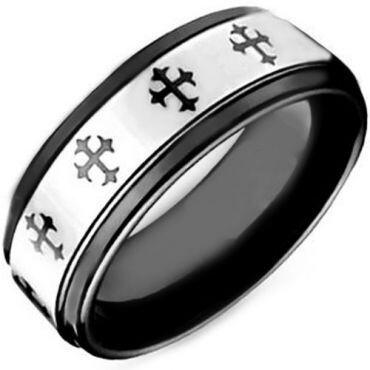 COI Tungsten Carbide Black Silver Cross Step Edges Ring-TG4096