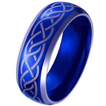 *COI Titanium Blue Silver Celtic Beveled Edges Ring - JT3299