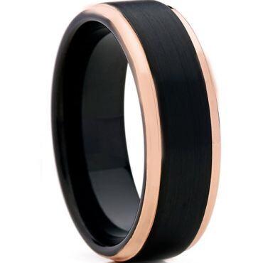 *COI Titanium Black Rose Step Edges Ring - JT3301