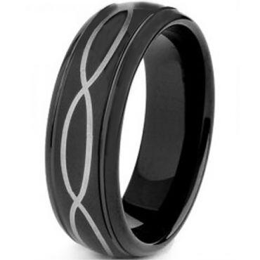 COI Black Titanium Infinity Step Edges Ring - 4126