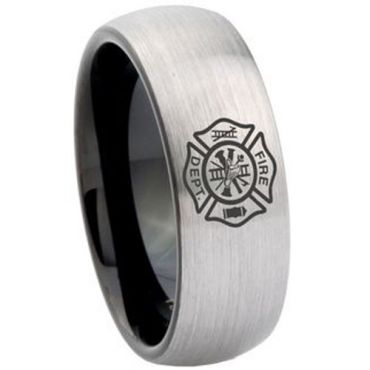 COI Tungsten Carbide Firefighter Dome Court Ring - TG4167CC