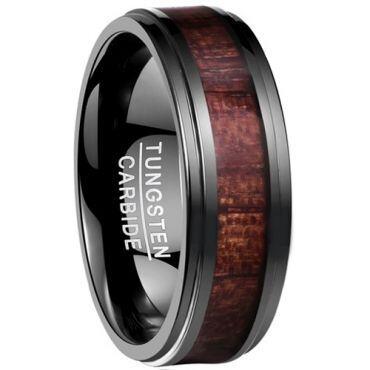 COI Black Tungsten Carbide Wood Step Edges Ring - TG4170
