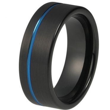 COI Titanium Black Blue Offset Groove Pipe Cut Ring - JT4083