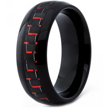 COI Black Tungsten Carbide Ring With Carbon Fiber-TG4200