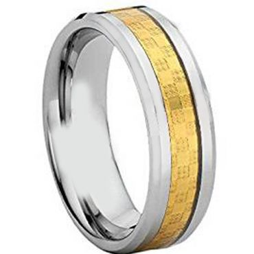 COI Titanium Beveled Edges Ring With Carbon Fiber - JT4105