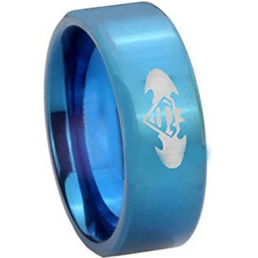 COI Blue Titanium Superman Batman Pipe Cut Flat Ring - 4227