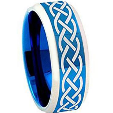 COI Tungsten Carbide Blue Silver Celtic Ring - TG4258AA