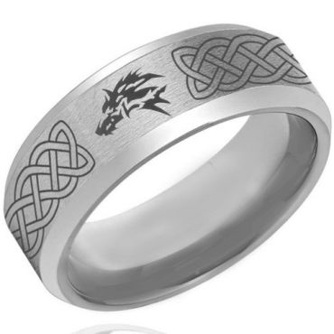 *COI Tungsten Carbide Celtic Wolf Beveled Edges Ring-4261