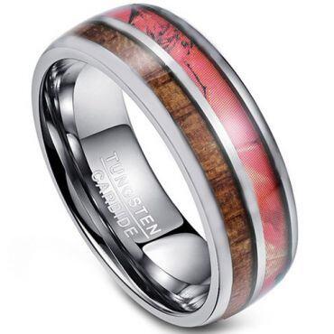 COI Tungsten Carbide Camo & Wood Dome Court Ring - TG4274