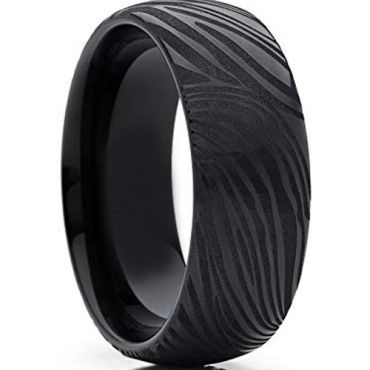 COI Black Tungsten Carbide Damascus Dome Court Ring-TG4281