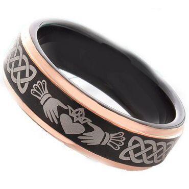*COI Titanium Black Rose Mo Anam Cara Step Edges Ring-JT3491