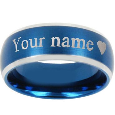 COI Tungsten Carbide Blue Silver Custom Engraving Ring-4297