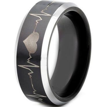 *COI Titanium Black Silver Heartbeat Beveled Edges Ring - JT3503