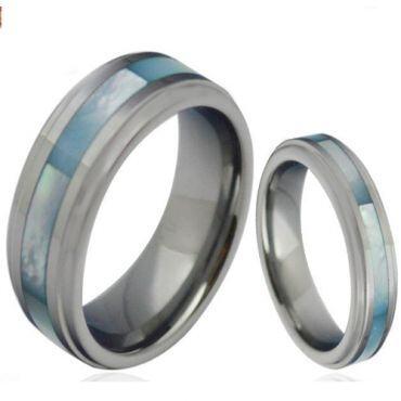 COI Titanium Abalone Shell Step Edges Ring - JT3858