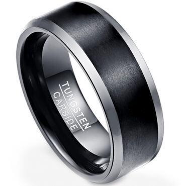 **COI Tungsten Carbide Black Silver Beveled Edges Ring - TG4308
