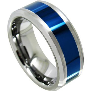 COI Tungsten Carbide Blue Silver Beveled Edges Ring - TG4321