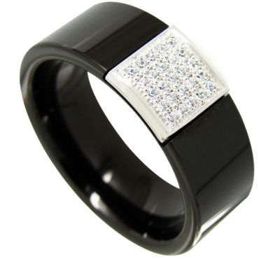 COI Tungsten Carbide Black Silver Ring With Cubic Zirconia-4353