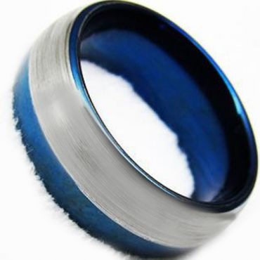 COI Tungsten Carbide Blue Silver Offset Line Ring - TG4360