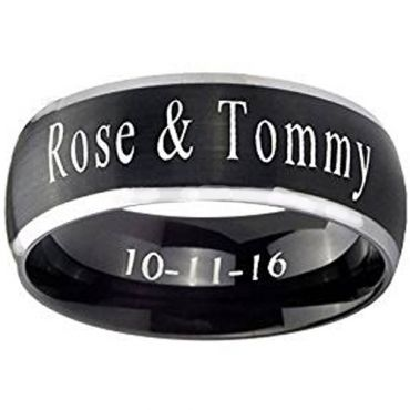 COI Tungsten Carbide Ring With Custom Engraving - TG4386