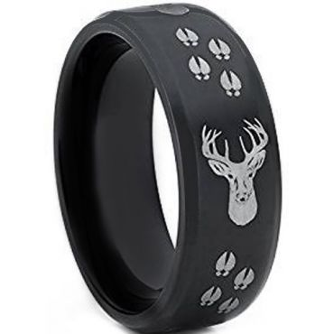 COI Black Tungsten Carbide Deer Head & Track Ring-TG4393