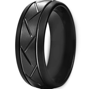 *COI Black Tungsten Carbide Double Grooves Tire Tread Ring-TG4404