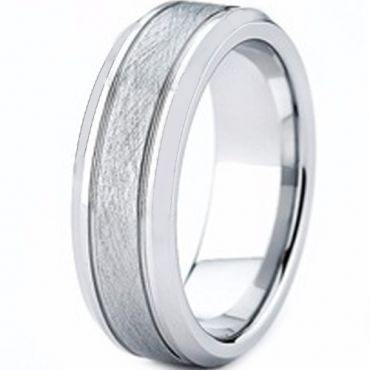 COI Tungsten Carbide Double Grooves Sandblasted Ring - TG4406