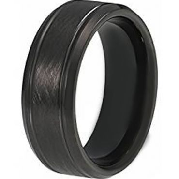COI Black Tungsten Carbide Double Grooves Sandblasted Ring-TG2864
