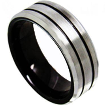 *COI Titanium Black Silver Double Grooves Beveled Edges Ring-4423