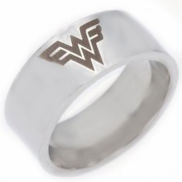 *COI Tungsten Carbide Wonder Woman Pipe Cut Flat Ring-TG4430
