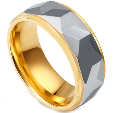COI Titanium Gold Tone Silver Faceted Step Edges Ring-JT2676AA