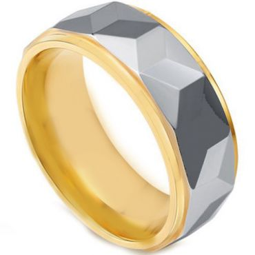 COI Tungsten Carbide Gold Tone Silver Faceted Ring - TG4444