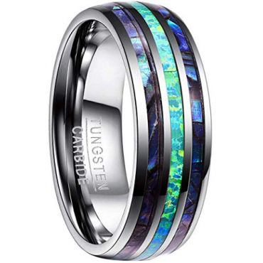 COI Tungsten Carbide Blue Crushed Opal & Abalone Shell Ring - 4445
