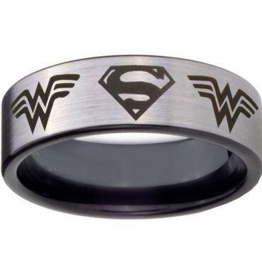 *COI Titanium Batman & Wonder Woman Pipe Cut Flat Ring - 4449