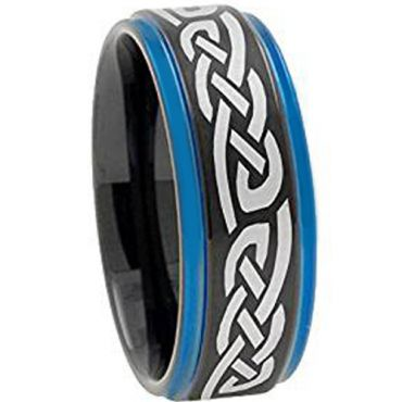 COI Tungsten Carbide Black Blue Celtic Ring-TG4453