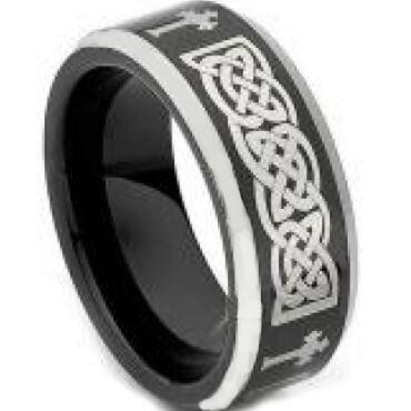 COI Tungsten Carbide Black Silver Celtic Cross Ring - TG4464