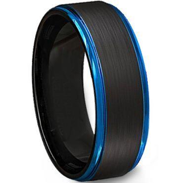 *COI Tungsten Carbide Black Blue Step Edges Ring-4499