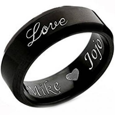 COI Black Titanium Beveled Edges Custom Engraving Ring-JT3746