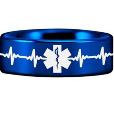 COI Blue Tungsten Carbide HeartBeat Medic Alert Ring - TG4551