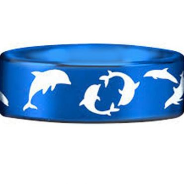 COI Blue Tungsten Carbide Dolphin Pipe Cut Ring - TG4553