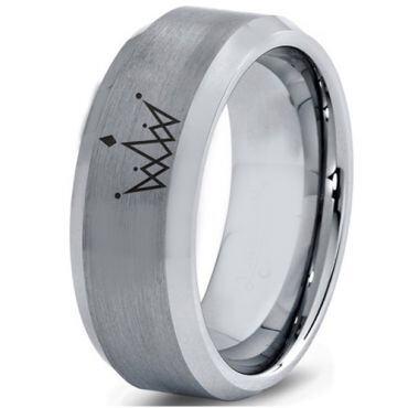 *COI Tungsten Carbide King Crown Beveled Edges Ring-4560