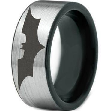 *COI Titanium Black Silver Batman Pipe Cut Flat Ring - JT3787