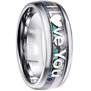 COI Tungsten Carbide Deer Antler & Abalone Shell Ring - TG4578CC