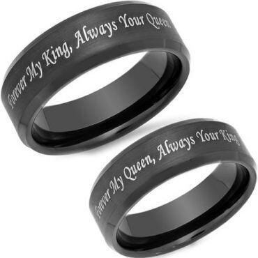 *COI Black Titanium King Queen Beveled Edges Ring - JT3801