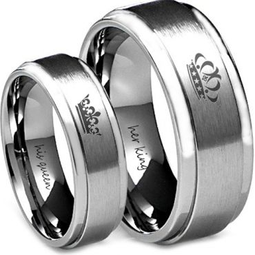 COI Tungsten Carbide King Queen Crown Step Edges Ring - TG4582