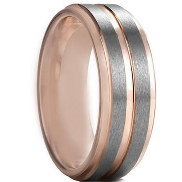 COI Tungsten Carbide Rose Silver Center Groove Ring - 4597