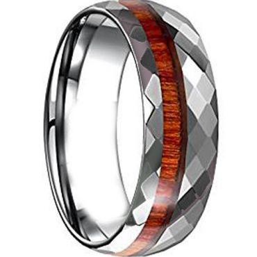 COI Tungsten Carbide Faceted Ring With Wood - TG4646