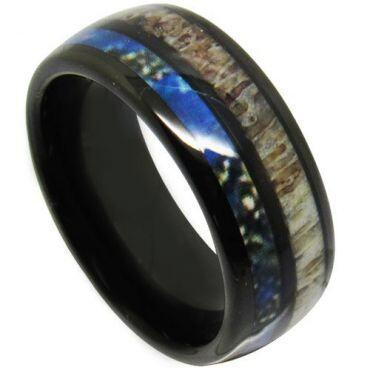 COI Black Tungsten Carbide Deer Antler & Blue Wood Ring-TG4709