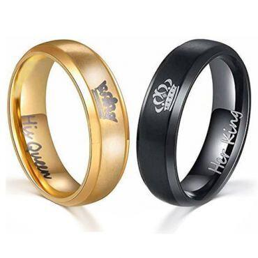 **COI Tungsten Carbide Black/Gold Tone King Queen Crown Ring-TG4713