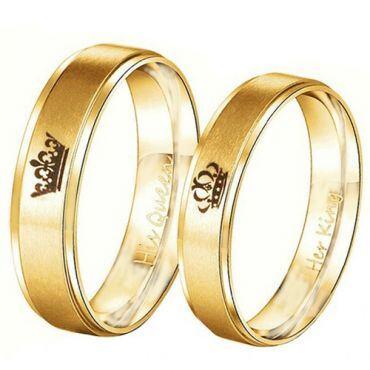 *COI Gold Tone Titanium King Queen Crown Step Edges Ring-4716
